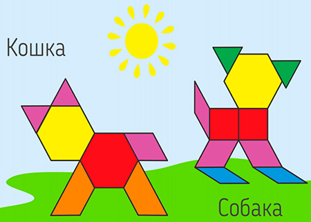 Шаблон для мозаики Pattern Blocks «Собака и кошка»
