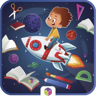 Ребенок летит на ракете.