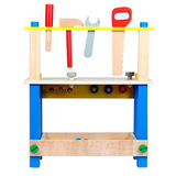 Детский деревянный верстак на ножках с тисками и инструментами 9