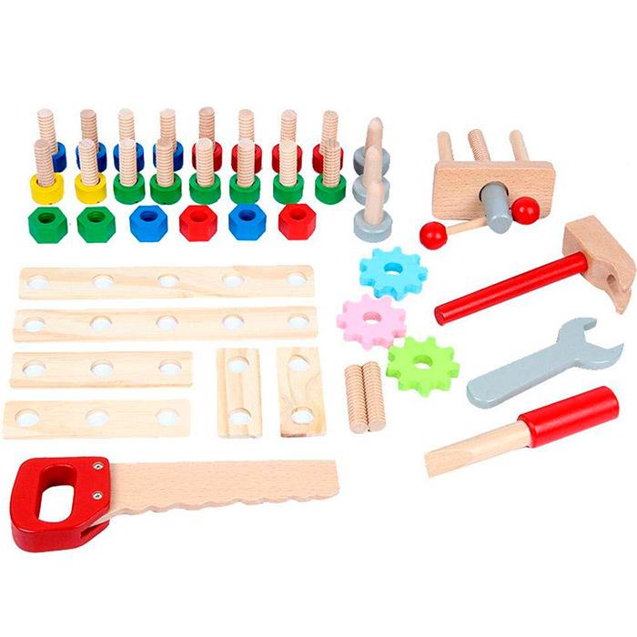 Детский деревянный верстак на ножках с тисками и инструментами
