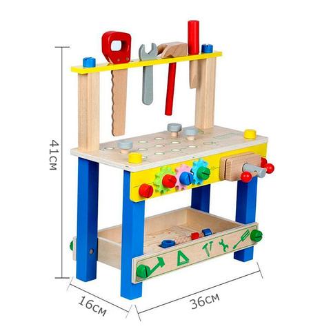 Детский деревянный верстак на ножках с тисками и инструментами 11
