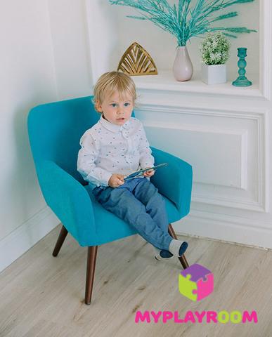 Детское мягкое кресло в стиле 60-х, бирюзовый 2