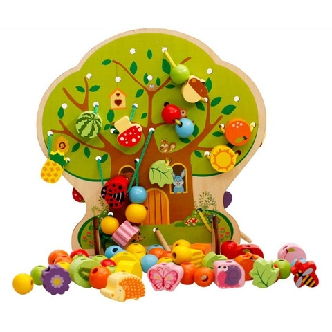 Развивающая игрушка Шнуровка дерево «Дом зверят», 102 элемента