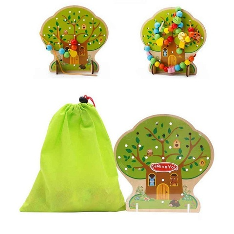 Развивающая игрушка Шнуровка дерево «Дом зверят», 102 элемента 4