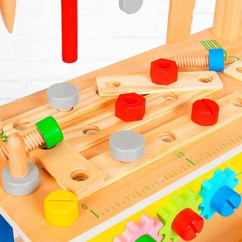 Детский деревянный верстак на ножках с тисками и инструментами 3