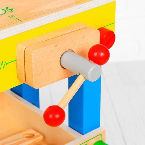 Детский деревянный верстак на ножках с тисками и инструментами 6