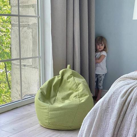 Детское мягкое бескаркасное кресло мешок, зелёное