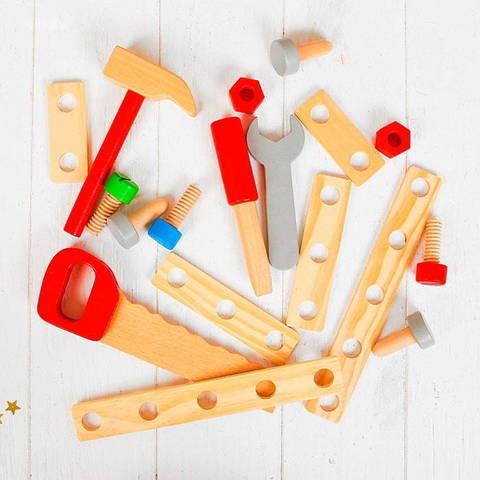 Детский деревянный верстак на ножках с тисками и инструментами 8
