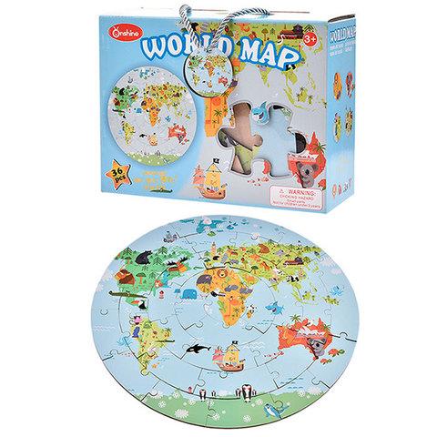 """Большой круглый деревянный пазл """"Карта мира"""", 36 деталей"""