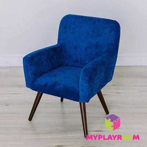 Детское мягкое кресло в стиле 60-х, глубокий синий