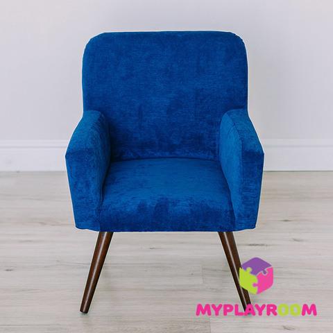 Детское мягкое кресло в стиле 60-х, глубокий синий 3