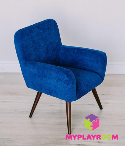 Детское мягкое кресло в стиле 60-х, глубокий синий 7