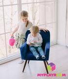 Детское мягкое кресло в стиле 60-х, глубокий синий 2