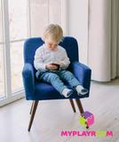Детское мягкое кресло в стиле 60-х, глубокий синий 5