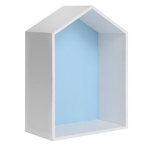 Полочка-домик для книг и игрушек, голубая 3