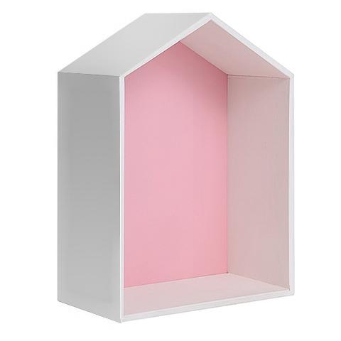 Полочка-домик для книг и игрушек, розовая 2