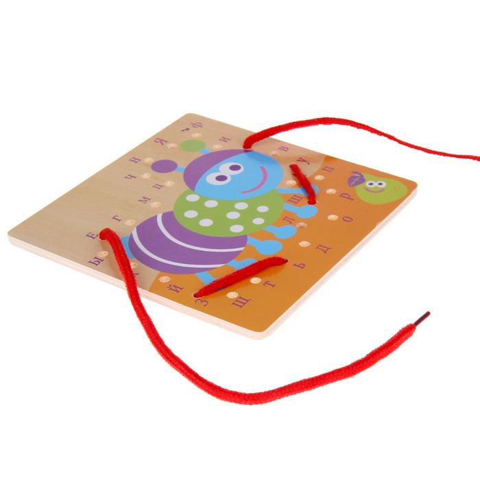 Развивающая деревянная игрушка-шнуровка гусеница с буквами изучаем алфавит
