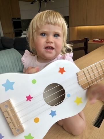 Детская музыкальная игрушка гитара укулеле 1+ 3