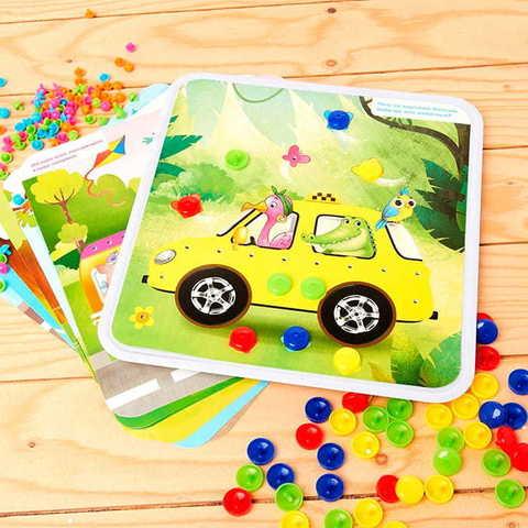 Монтессори мозаика с карточками «Транспорт», 160 деталей 2