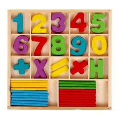 Набор счётных палочек, резных цифр и знаков, 70 элементов