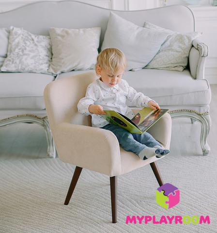 Детское мягкое кресло в стиле 60-х, песочный 5