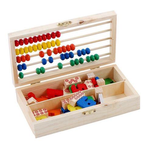 Счёты и цифры в деревянном сундучке, 74 элемента 2