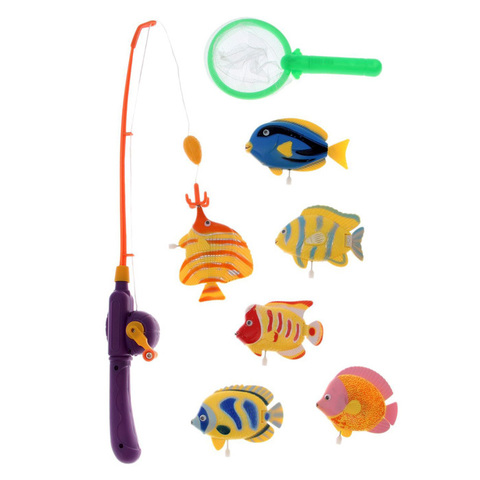 """Игровой набор """"Рыбалка"""", 6 рыбок с удочкой и сочком"""