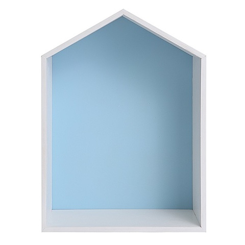 Полочка-домик для книг и игрушек, голубая