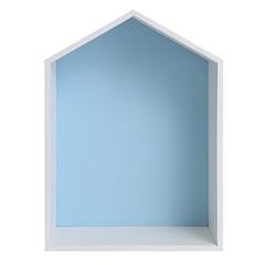 Полочка-домик для книг и игрушек (голубая)