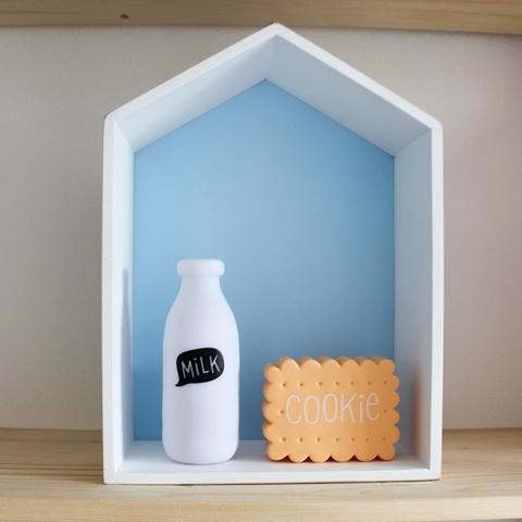 Полочка-домик для книг и игрушек, голубая 2