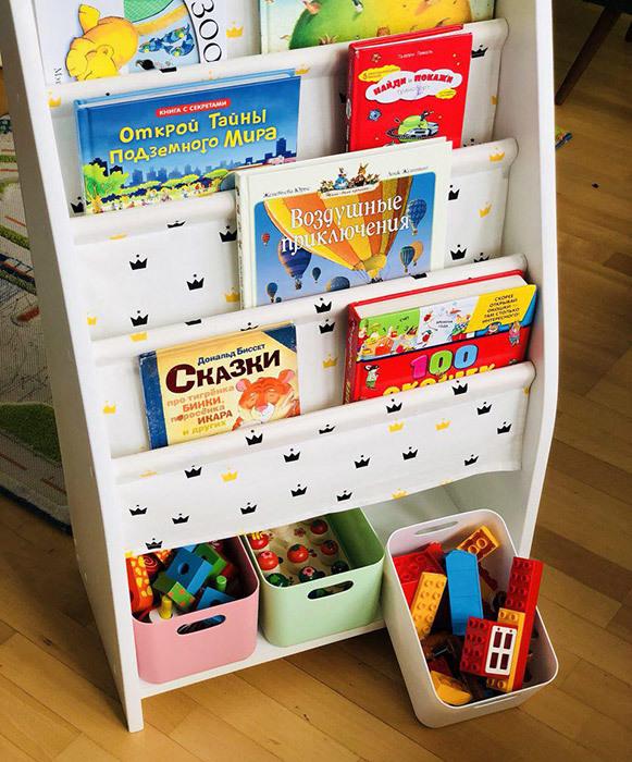 слингополочка для книг с отсеком для хранения