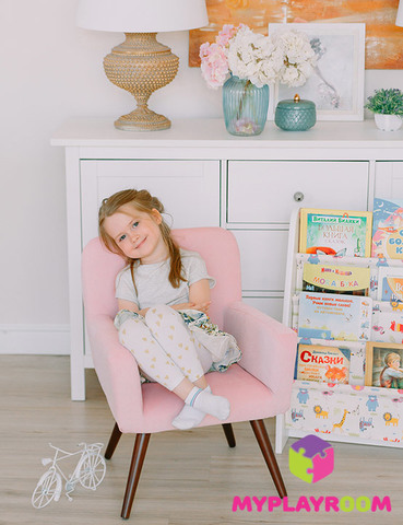 Детское мягкое кресло в стиле 60-х, розовое облачко 5