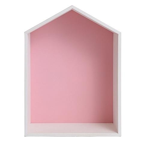 Полочка-домик для книг и игрушек, розовая