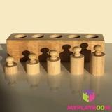 Блоки с цилиндрами для малышей (материал Монтессори) 7