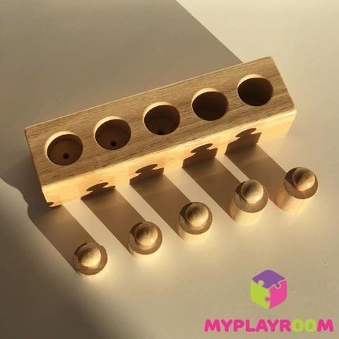 Блоки с цилиндрами для малышей (материал Монтессори) 8