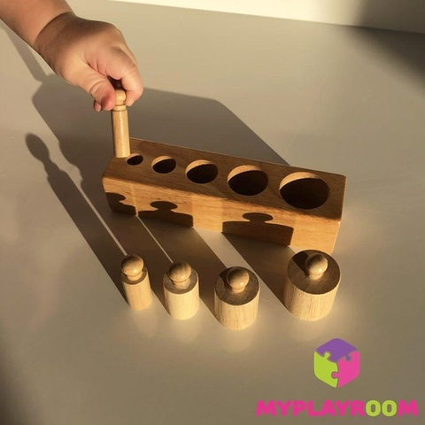 Блоки с цилиндрами для малышей (материал Монтессори) 6