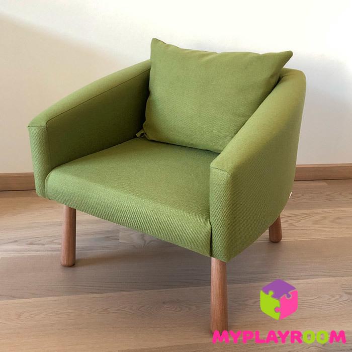 Детское уютное кресло зеленое