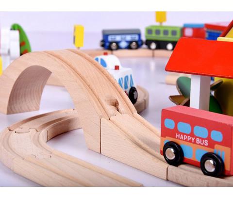 Деревянная железная дорога, 69 деталей 4