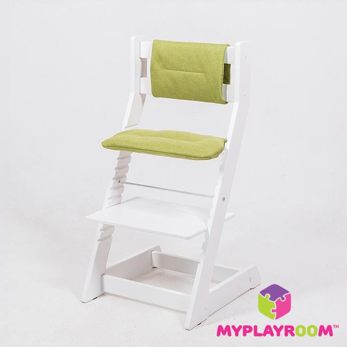 Растущий стул белый с мягкими чехлами зеленого цвета