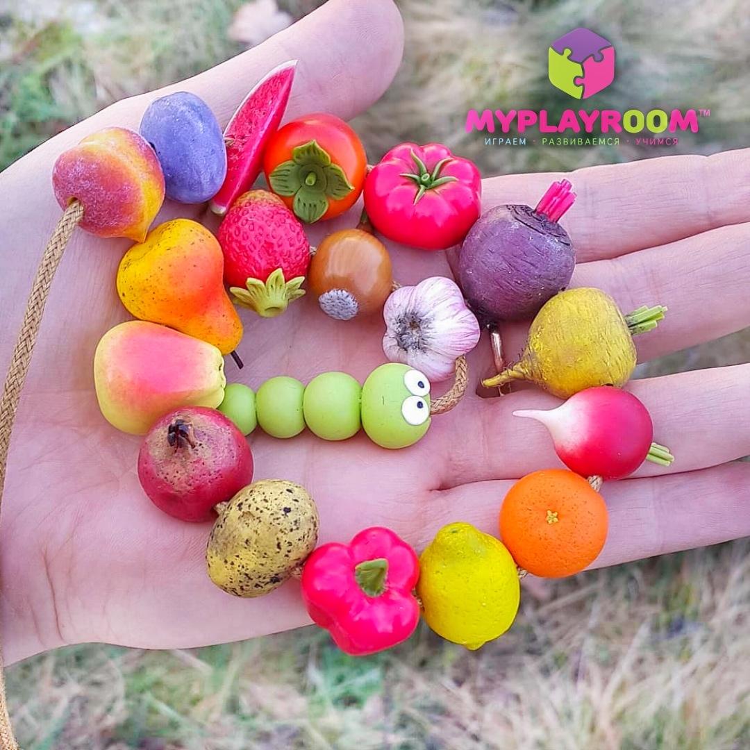 Игра шнуровка голодная гусеница из овощей, фруктов и ягод ручной работы из полимерной глины