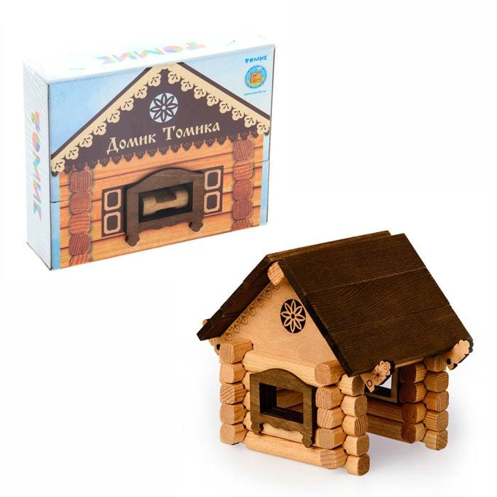 Деревянный конструктор домик изба из бревнышек