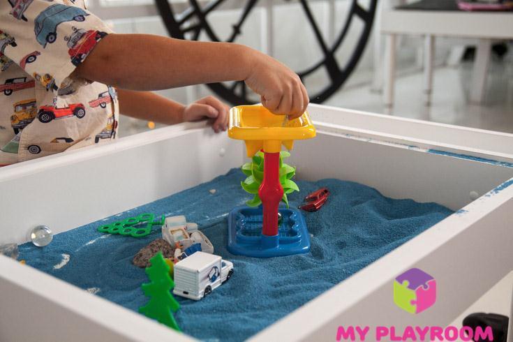 Игры с песком и песочной мельницей в домашней песочнице Myplayroom.ru