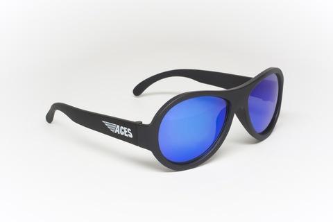 """Детские солнцезащитные очки Aces Aviator """"Чёрный спецназ"""", (6+ лет). Синие линзы"""