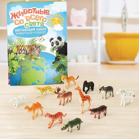 """Игровой набор """"Животные со всего света"""", 12 животных + плакат"""