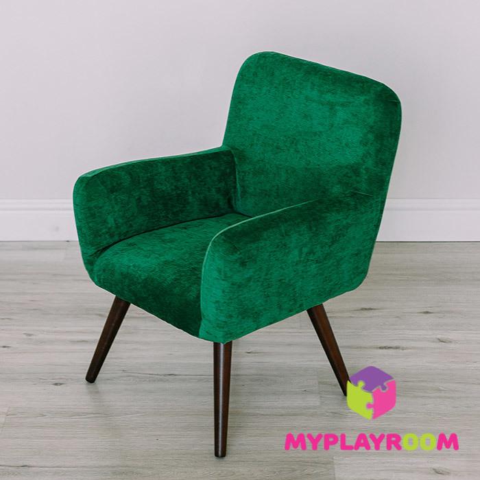 Детское стильное кресло в стиле 60-х, изумрудный цвет