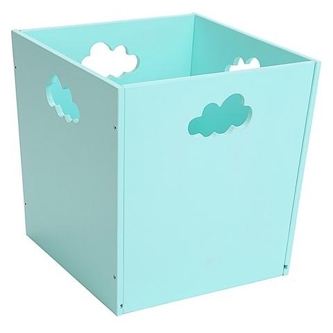 Бирюзовый деревянный ящик для игрушек