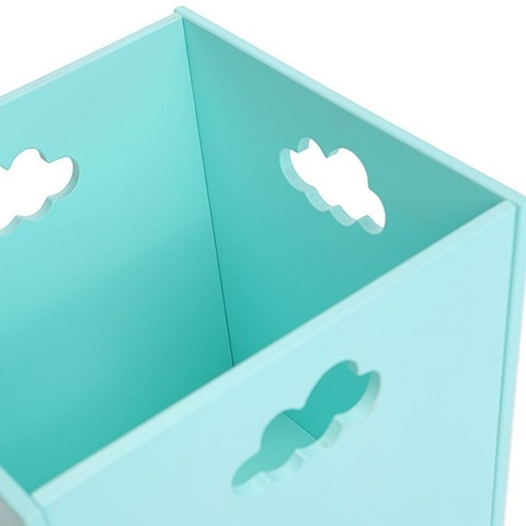 Бирюзовый деревянный ящик для игрушек 3