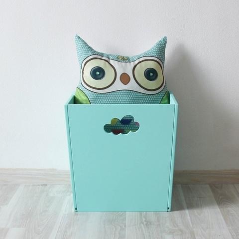 Бирюзовый деревянный ящик для игрушек 2