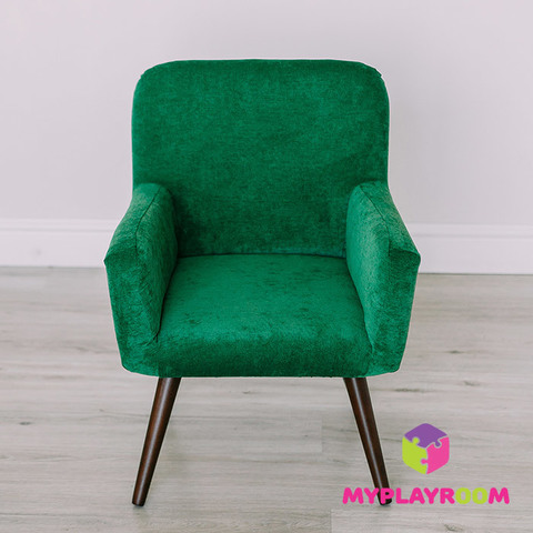 Детское стильное кресло в стиле 60-х, изумрудный 3
