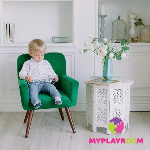 Детское стильное кресло в стиле 60-х, изумрудный 2